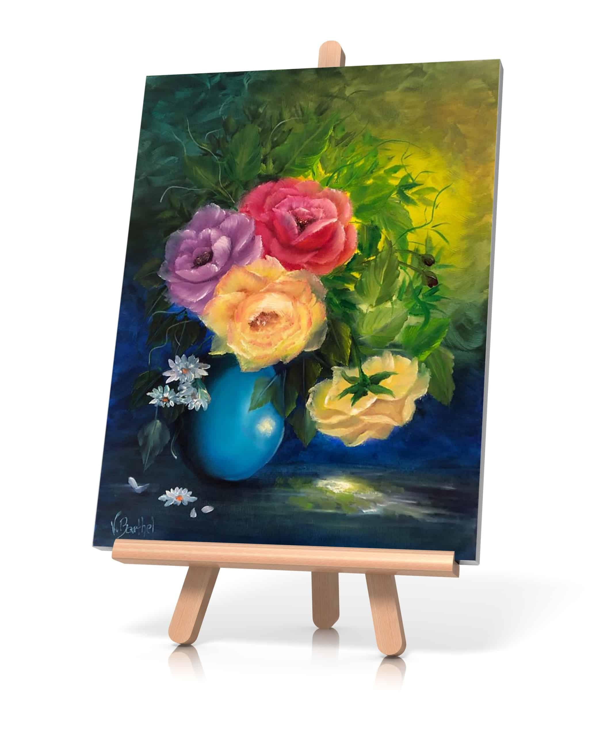 """Ölgemälde """"Rosen in blauer Vase"""" nach Gary Jenkins / Künstlerin: Viola Barthel"""