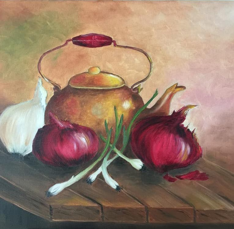 "Ölgemälde ""altehrwürdiger Teekessel"" nach Gary Jenkins / Künstlerin: Viola Barthel"