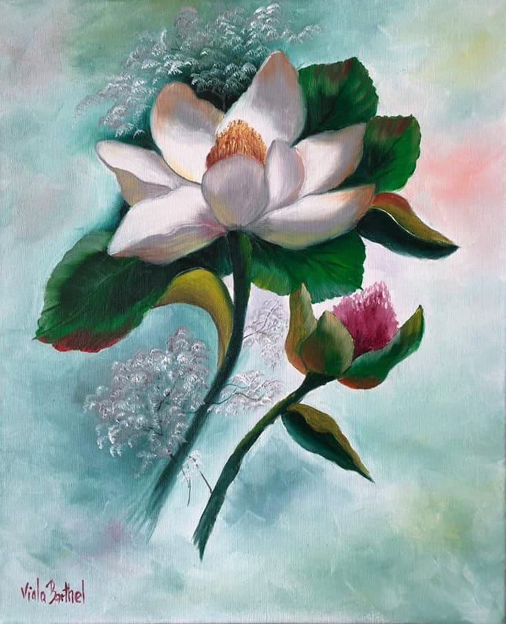"Ölgemälde ""Magnolie"" nach Gary Jenkins / Künstlerin: Viola Barthel"