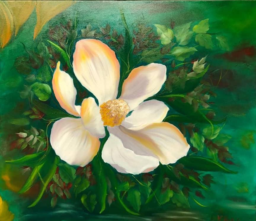 "Ölgemälde ""Magnolienblüte"" nach Gary Jenkins / Künstlerin: Viola Barthel"