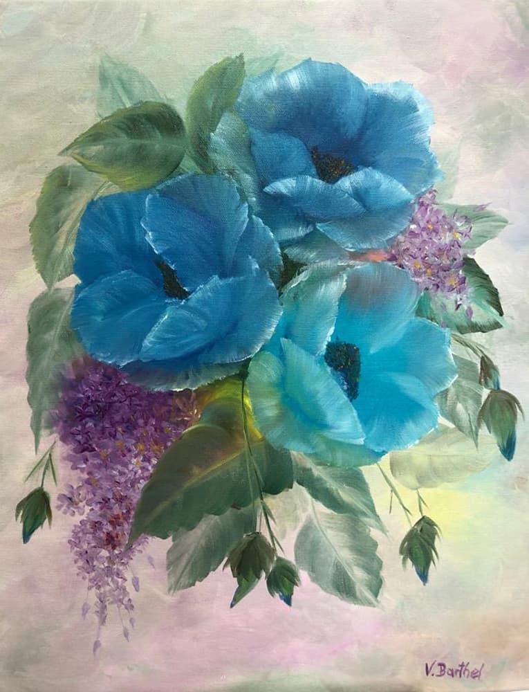 """Ölgemälde """"Pretty in Blue"""" nach Gary Jenkins / Künstlerin: Viola Barthel"""