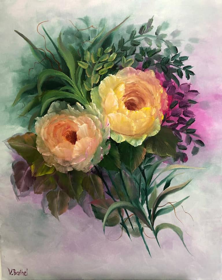 """Ölgemälde """"altenglische Rosen"""" nach Gary Jenkins / Künstlerin: Viola Barthel"""
