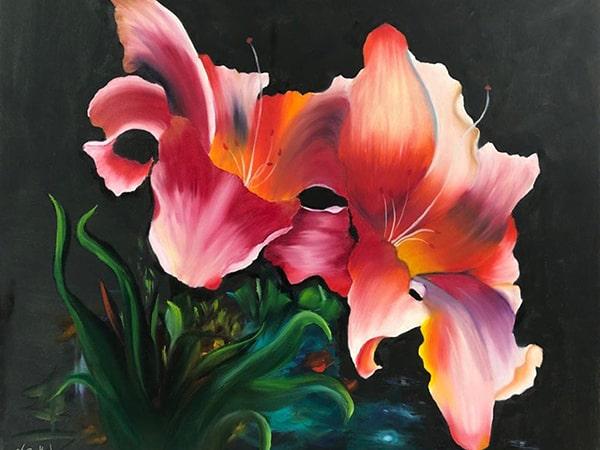 """Ölgemälde """"Zwei Lilien"""" nach Gary Jenkins / Künstlerin: Viola Barthel"""
